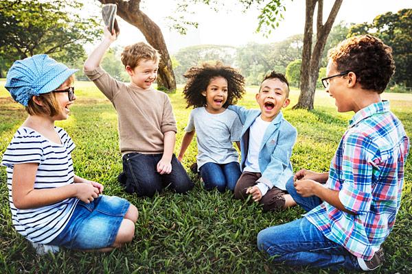 Elementary school kids socializing
